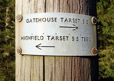 Electricity distribution pole, Kielder Forest, showing line directions from Gatehouse Tarset sub station to Highfield Tarset substation